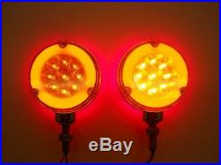 (2) 54 LED Red Amber Halo Glow Side Marker Turn Signal Semi Truck Fender Lights