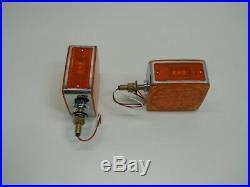 (2) LED Amber Side Marker Turn Signal Semi Truck Fender Lights / Single Stud