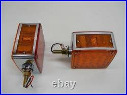 (2) LED Red Amber Side Marker Turn Signal Semi Truck Fender Lights / Single Stud