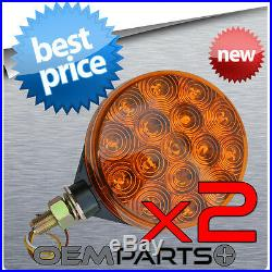 2 New 4 Amber Led Round Pedestal Cab Fender Truck Turn Signal Light Double Park