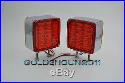 2 Square Dual Face Stud Mount Pedestal Cab Fender Turn Signal Light 39 LED Truck