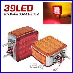 2 Square Dual Face Stud Mount Truck Pedestal Cab Fender 39 LED Turn Signal Light