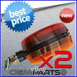 2x Amber Red 4 Led Round Pedestal Fender Truck Trailer Turn Signal Light Combo