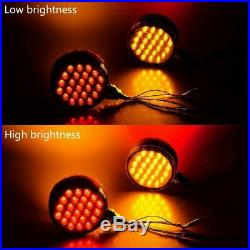 4x Round 48LED LED Dual Face Fender Brake Turn Signal Light for Truck Tractor