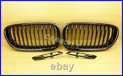 5-series Shiny Black F10 F11 Front Fender Turn Signal Light Trim Cover + Grille