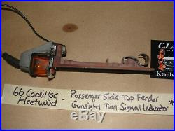 66 Cadillac Fleetwood RIGHT PASS SIDE TOP FENDER GUNSIGHT TURN SIGNAL INDICATOR