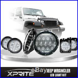 7 75W CREE LED Headlights DRL with Clear Side Turn Signal Combo for 07-18 Jeep