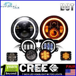 7 LED Headlight +4 Fog Lamp Turn Signal Fender Lamp For 07-17 Jeep Wrangler JK