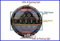7 LED Headlight 4 Fog Light Turn Signal Fender Side For 07-16 JK Jeep Wrangler