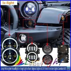 7 LED Headlight+ Fog Light+ Turn Signal+ Fender Lamp Kit 07-17 Jeep Wrangler JK