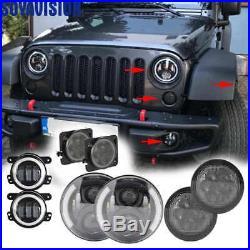7 LED Headlight Turn Signal Fender Fog Light Lamp for 2007-17 Jeep JK Wrangler