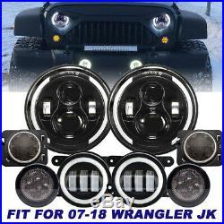 7 LED Headlight + Turn Signal + Fog Light Fender Kit For Jeep Wrangler 07-17
