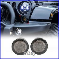 7 LED Headlights+4 Fog Lights+Turn Signal+Fender Lamp Kit For Jeep Wrangler JK