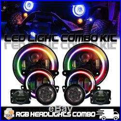 7 Multi-Color For Jeep Wrangler JK Color RGB LED HeadlightsFog Turn Fender Lamp