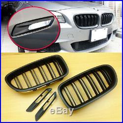 BMW F10 F11 M Type Matt Black Front Grille + Fender Turn Signal Light Trim Cover