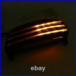 Clear Tri-Bar Fender LED Tail Brake Light Turn Signals For Harley FatBob FXDF BT