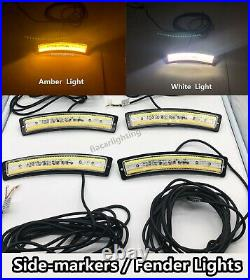 FIA Lights Amber+White Side-marker Fender Turnning Signal Lights 4pcs Set