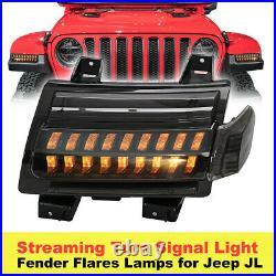 Fender LED Turn Signal Lights Running DRL for Jeep Wrangler JL JLU Sahara 2018+