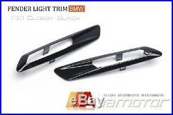 Fender Side Turn Signal Light Trim Glossy Black Cover for BMW F10 F11 Pre-LCI