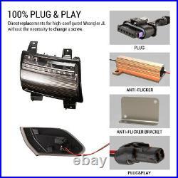 FieryRed Front Fender Flare Lights Turn Signal Lights Set for Jeep Wrangler JL