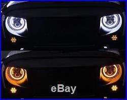 For Jeep Wrangler JK 7 Headlights High Low Beam+ LED Halo Fog Light Super White