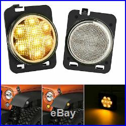 For Jeep Wrangler JK 7 inch LED Headlight 4 Fog Light + Turn Signal+ Fender Kit