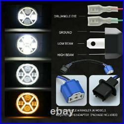 For Jeep Wrangler JK JKU 07-18 7 LED Headlight+4 Fog Light +Turn Signal Fender