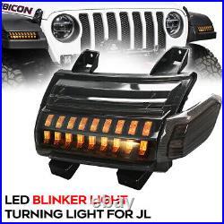 Front Fender Blinker Turn Signal Lights For Jeep Wrangler JL JLU Rubicon 2018-21