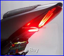 GSX-R1000 2017-up Fender Eliminator with Red LED Turn Signal Light Bar Clear