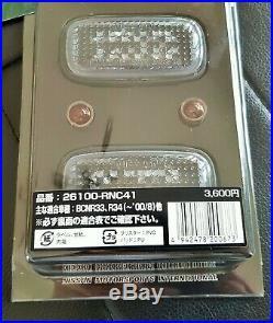 JDM Front LED Smoke Turn Signal Blinker Fender Lights Nissan GTR R34 R33 NISMO