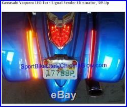 Kawasaki Vaquero LED Turn Signal Fender Eliminator,'09-Up CHROME GLOW