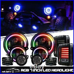 LED Color RGB Headlight+Fog Light+Turn Signal+Fender Light+Tail Light JEEP JK