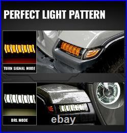 LED Fender Daytime Running Turn Signal Lights Lamps for 18-20 Jeep Wrangler JL