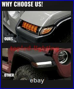 LED Fender Flare Light Side Markers Turn Signal DRL For JL Gladiator 18+ Rubicon