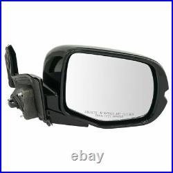 Mirror Power Heated Memory Turn Signal Gloss Black Pair Set of 2 for Honda Pilot