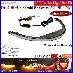 Motorcycle LED Turn Signal Fender Light Bar Kit For Suzuki Boulevard M109R / M90