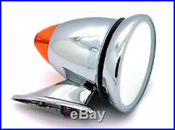 NEW Talbot-Style Chrome Bullet Side Mirror withLED Turn Signal / Fender Door Mount