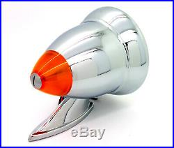 NEW Talbot-Style Chrome Bullet Side Mirrors withLED Turn Signal Fender Door Mount