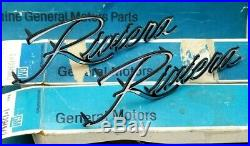 Nos 71 72 73 Buick Riviera Fender Script Emblem Set / Pair Gm Trim Boat Tail