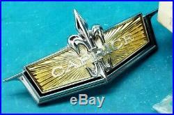Nos 72 71 Chevy Caprice Header Panel Emblem Ornament Convertible Classic Gm Trim