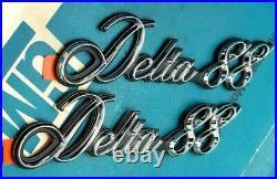 Nos 77 85 Olds Delta 88 Fender Script Emblem Set 86 88 1/4 Panel Gm Trim