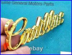 Nos 80 96 Cadillac 24k Gold Trunk Script Emblem Deck LID Genuine Oem Gm Trim