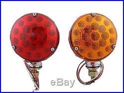 (Pair) 42 LED Red Amber Side Marker Turn Signals Semi Truck Fender Lights