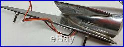 Pair antique 11 long roof or fender top chrome parking lights with wings Fits