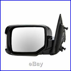 Power Memory Turn Signal Smooth Black Mirror Pair Set of 2 for 09-13 Honda Pilot