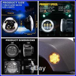 RGB 7 INCH LED Headlight DRL Fog Turn Signal Fender For 07-18 Jeep Wrangler JK
