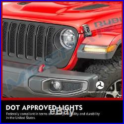 Smoked LED Fender Daytime Running Turn Signal Lights for 18-20 Jeep Wrangler JL