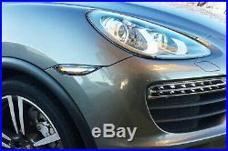Smoked Lens Amber LED Front Sidemarker Lights For 11-14 Pre-LCI Porsche Cayenne