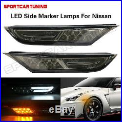 Smoked Lens Amber White LED Side Fender Markers Light Lamp For Nissan GT-R R35