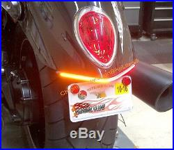 Triumph Rocket III Roadster LED Fender Turn Signal Kit with Plate Bracket Smoke
